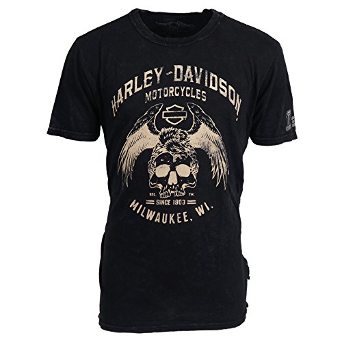 H-D Overseas Tour Eagle Skull Black Label T-Shirt Men's, Medium, Black