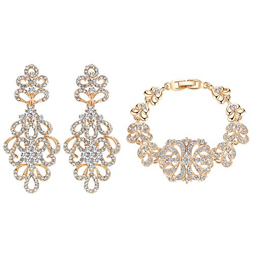 mecresh Floral Gold Crystal Prom Earrings Bracelet Jewelry Sets for Women or - Earrings Floral Wedding