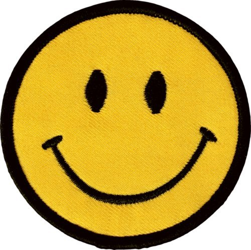 Super patch)43002 Happy Smiley Face Yellow Classic 60s Hippie Embroidered Sew Iron On Patch by I.E.Y. ()