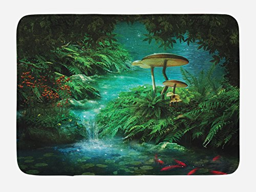 Lunarable Fantasy Bath Mat, View of Fantasy River with Pond and Fishes Mushroom in Jungle Trees Print, Plush Bathroom Decor Mat with Non Slip Backing, 29.5 W X 17.5 W Inches, Green Teal and Red ()