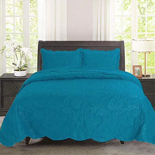 bednlinens&things 3 pc Solid Embossed Paisley Pattern Wavelet Edge All Season, Light Weight Bedspread Bed-Coverlet Over Size 118