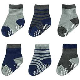 BABIBEAN Baby Boy\'s Non-skid Anti slip Cute Little Baby Socks 12-12 Months 6 Pairs
