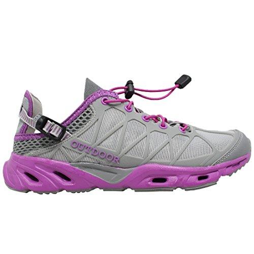 Schnell trocknende Aqua-Wasser-Schuhe der Frauen Beleg auf amphibischen athletischen Netz-Wanderschuhen von ToySharing Grau / Lila