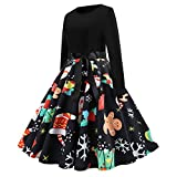 Ulanda Womens Vintage Christmas Dresses Long Sleeve Fit and Flare Dresses Evening Party Swing Dress