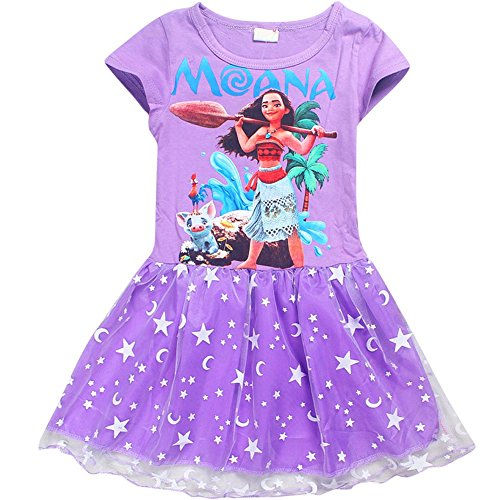 Gown Short Sleeved Costumes (KUFV Moana Little Girls' Printed Dress Princess Cartoon Party Dress)