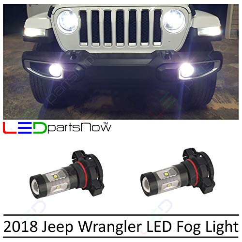 LEDpartsNow 2018 Jeep Wrangler JL 5000K 5202 White LED Fog Lights Conversion Accessories Replacement Kit (2 Bulbs) ()