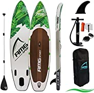 """AMGSPORT Inflatable Stand Up Paddle 10'6""""×32""""×6"""" with Premium SUP Accessories Including Pad"""