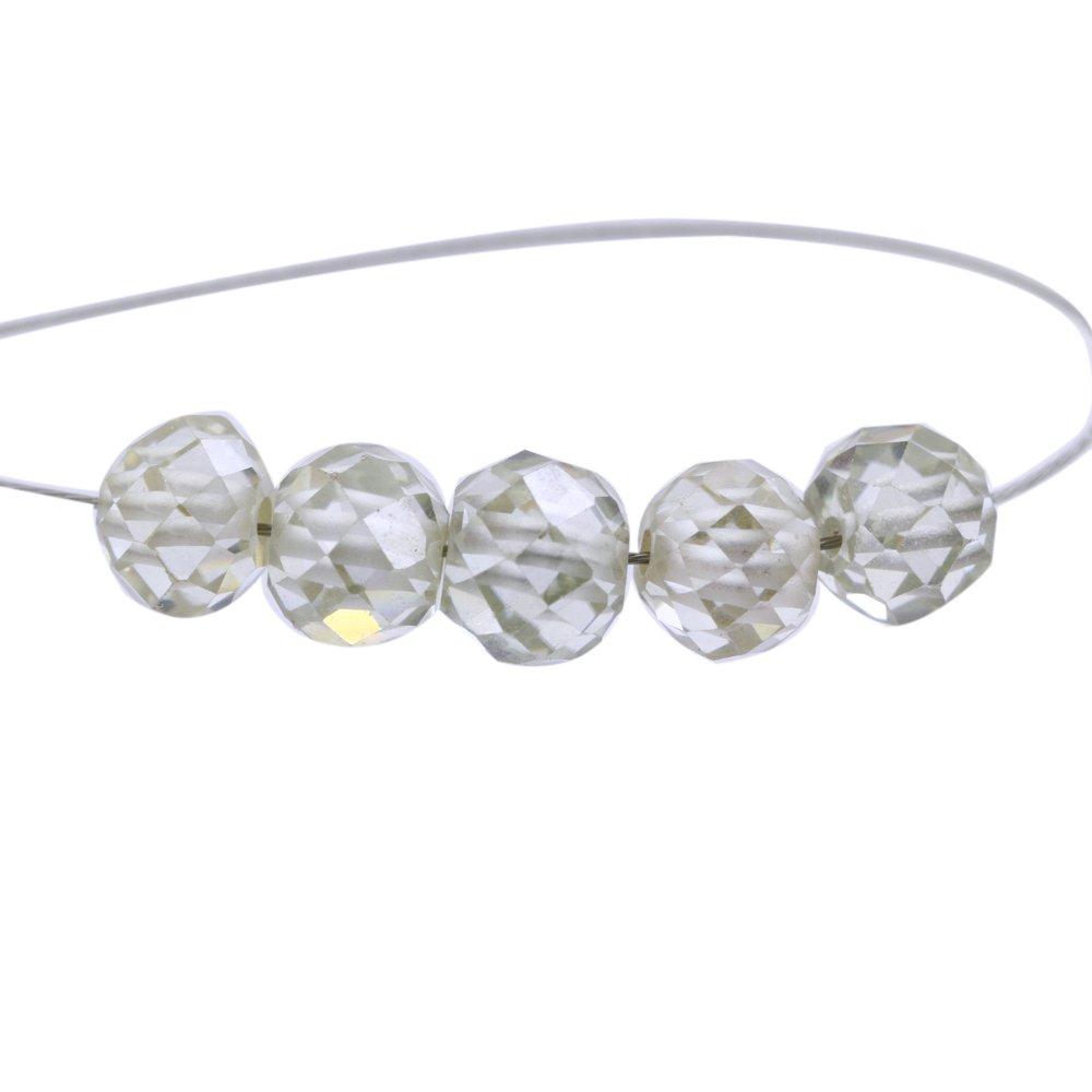 Skyjewels 3.50 Carat 5 mm Round Off White Diamond 5 Pcs Certified Beads