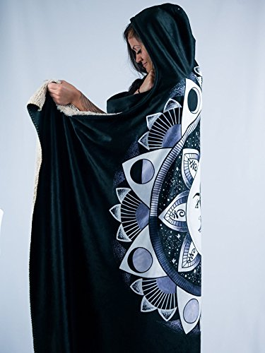 Moon Beams Premium Sherpa Hooded Blanket - Electro Threads by Electro Threads (Image #4)