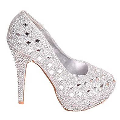 Ladies Womens Sparkly High Heel Evening Bridal Party Bridesmaid Court Shoes Size