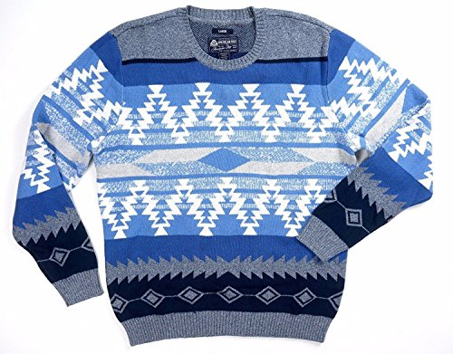 (American Rag Mens Ribbed Trim Zig Zag Geometric Pullover Sweater Blue L)