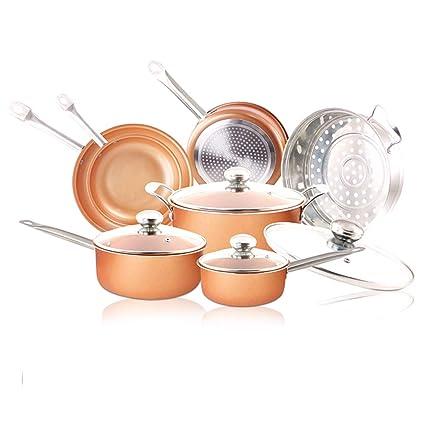 Juego de utensilios de cocina de 11 piezas - Juego de utensilios de cocina de inducción antiadherente Ollas y sartenes de cerámica ...