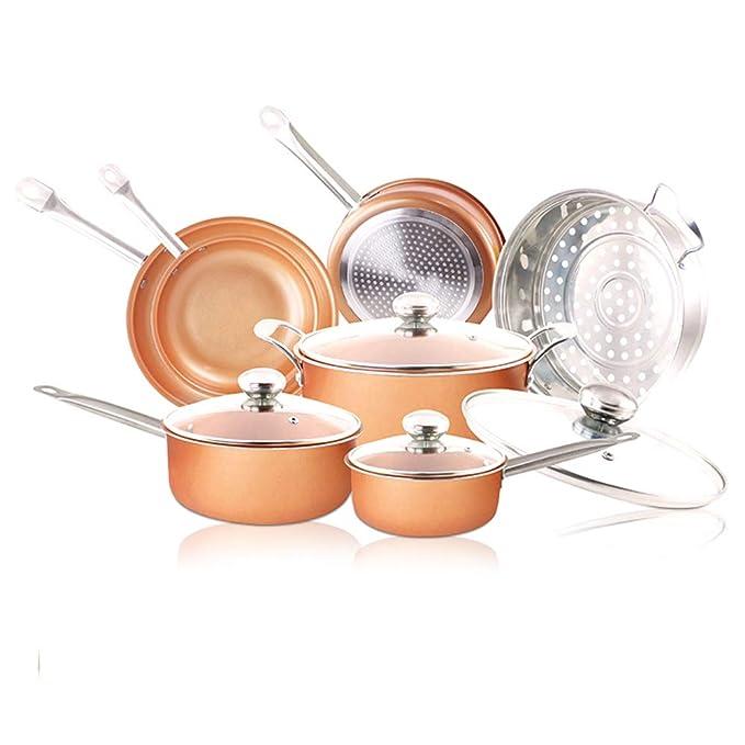Juego de utensilios de cocina de 11 piezas - Juego de utensilios de cocina de inducción antiadherente Ollas y sartenes de cerámica Lavavajillas y horno ...