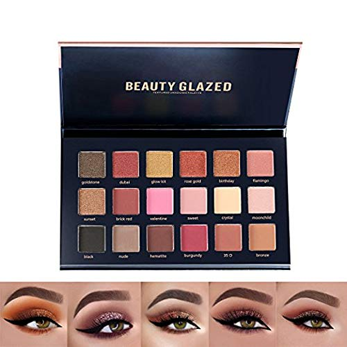 - Beauty Glazed 18 Colors Shimmer Rose Gold Textured Eyeshadow Palette Makeup Contour Metallic Eye Shadow Natural Pigmented Nude Naked Smokey Professional Cosmetic