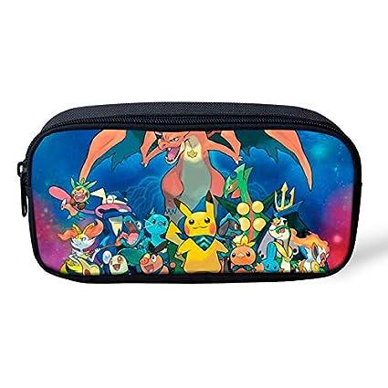 Pokemon Pikachu - Estuche para lápices de gran capacidad para la escuela, oficina, colegio, colegio, niña, tamaño grande, color Pikachu-1 22x11x4.5cm