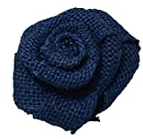 Bit Fly 100/50/10Pcs Rustic Vintage Flower Rose Wedding Decoration Burlap Roses Hessian Jute Decor Embellishments (100PCS, Navy blue)