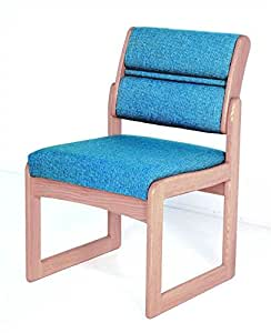 Sled Base Armless Wood Office Chair in Solid Light Oak w Upholstered Back & Seat (Blue Arch)