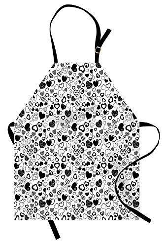 - T&H Home Hearts Apron, Monochrome Love Symbol Theme with Various Art Styles Swirls Polka Dots Lines Scars, Unisex Kitchen Bib Apron Adjustable for Kids Adults Cooking Baking Gardening, Black White