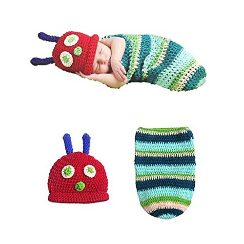 Veewon Fashion Baby Infant Newborn Costume Photo Hat Clothes Baby Photograph Props (Caterpillar)]()
