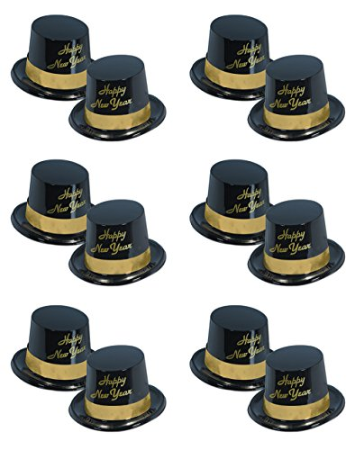 Beistle S88630-25BKAZ12 12 Piece Legacy Toppers, Black/Gold