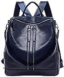 BOYATU Convertible Genuine Leather Backpack Purse for Women Fashion Travel Bag (Blue-03)