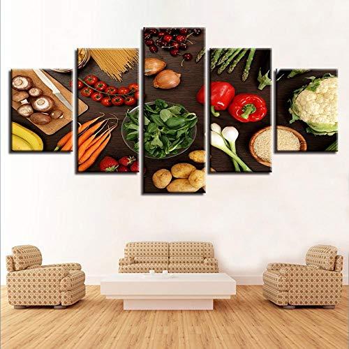 RuiYa Wall Art marco 5 pared lona pintura 50x25cm Cocina verduras setas chile papas zanahoria comida imágenes Cartel…