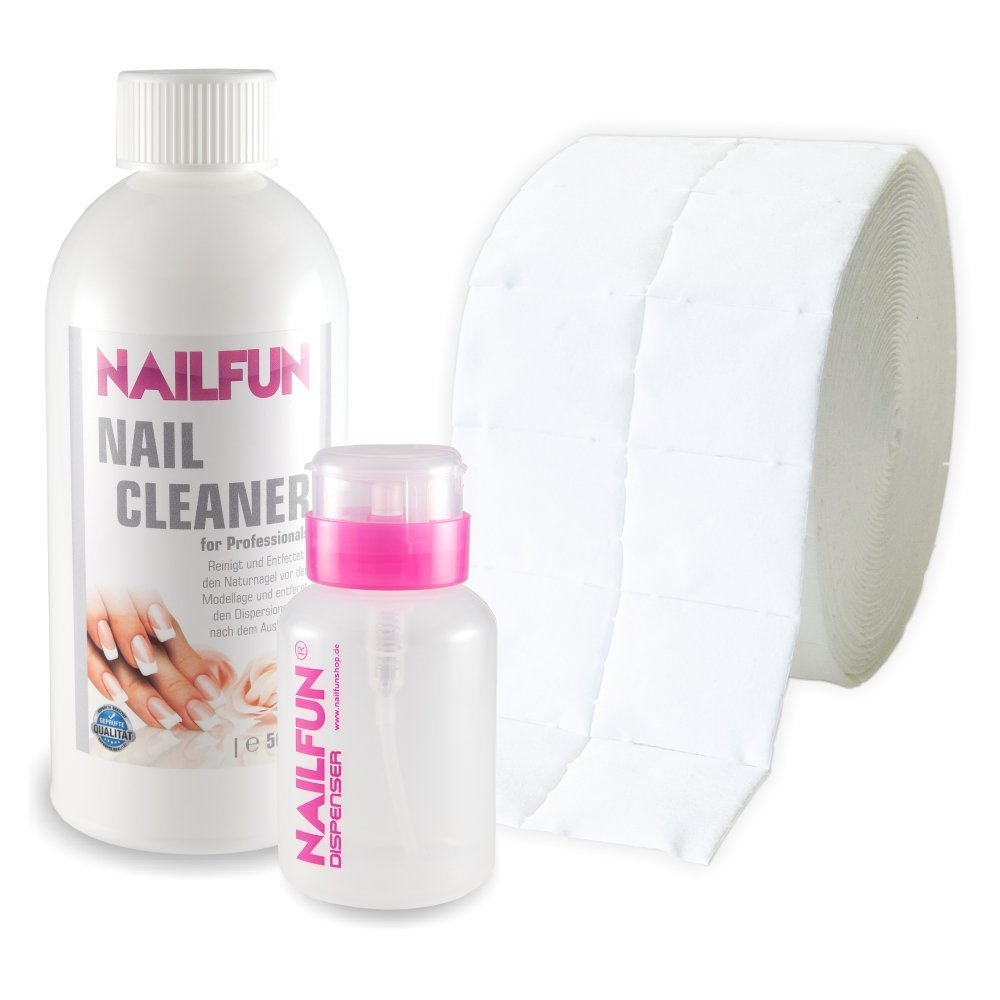 Nail Cleaner 500ml (99,9% Isopropanol) + 500 Zelletten (1 Rolle) + 1 Pumpflasche product image