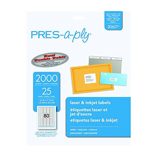 Pres-a-ply Laser Address Labels, 0.5 x 1.75 Inches, White, Box of 2000 (30617) (Address Pres Label A-ply)