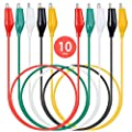 KAIWEETS 10PCS Electrical Alligator Clips with Wires Test Leads Sets Soldered and Stamping Jumper Wires for Circuit Connection/Experiment, 21 inches 5 Colors (10 PCS)