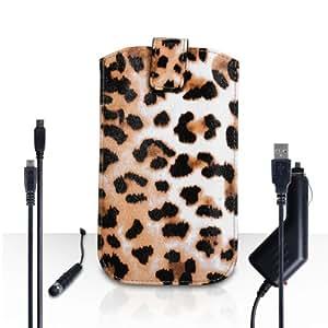 Yousave Accessories Samsung Galaxy A5(2016) Case Leopard PU Leather Caseflex coche Return Pull Tab Pouch carcasa con Mini capacitivo pluma, cargador de coche y cable USB