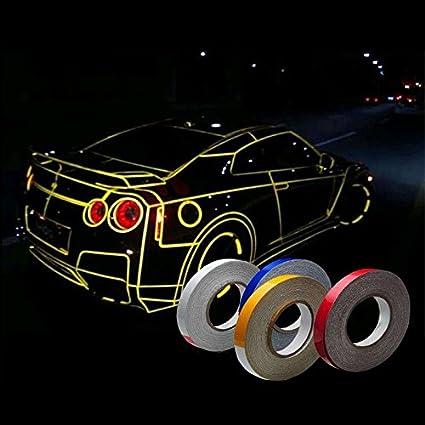 Leoie 45M Motorcycle Automotive Car Reflective PVC Body Wheel Hub Rim Stripe Decal Stickers Fluorescent Green Exterior Accessories