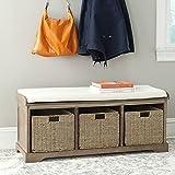 Safavieh Home Collection Lonan Grey Wash and White Wicker Storage Bench