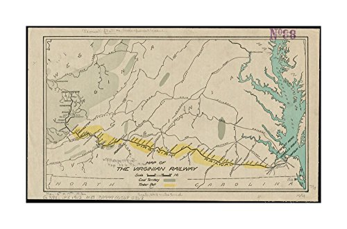 Coal Mining Costume (1912 Map Virginia| West Virginia of the Virginian Railway Shows the Virginian Railway from Princeton)