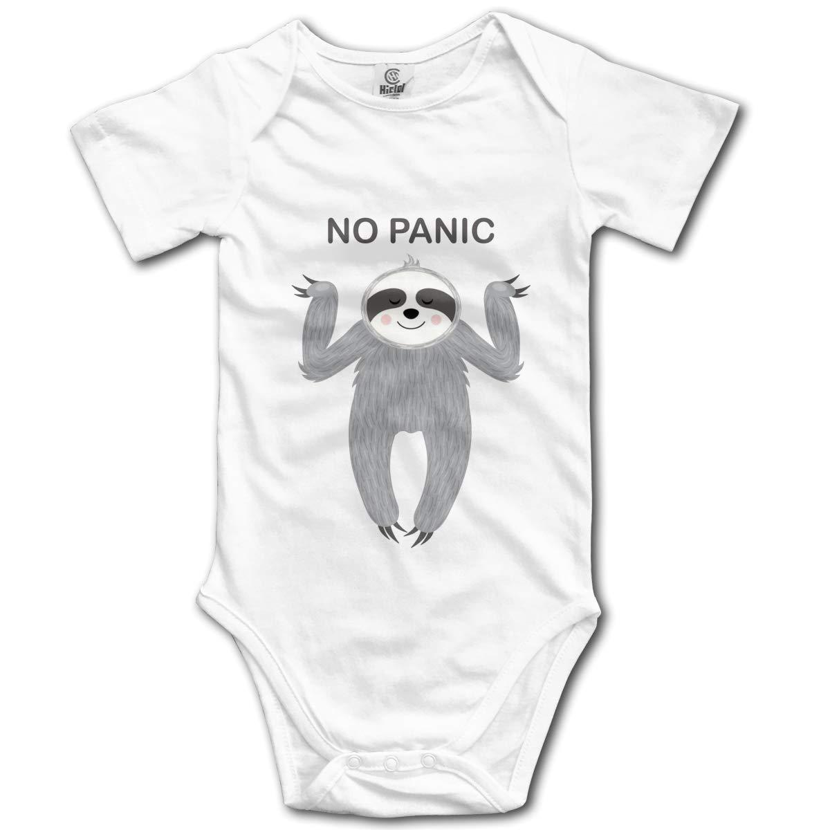 Sloth No Panic Baby Romper 0-18 Months Newborn Baby Girls Boys Layette Rompers Black