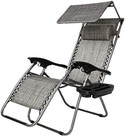 Teeker Folding Beach Chair, Lounge Chair Outdoor with Sunshade,Zero Gravity Reclining Chair with Cup Holder and Headrest for Garden Outdoor Gray