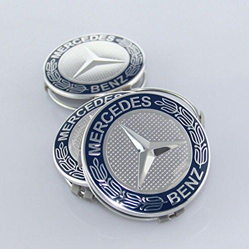ZZHF1 Wheel Center Caps For Mercedes Benz 75mm - Wreath Cover Chrome Emblem (4Pcs) (Navy Blue) by ZZHF1 (Image #4)