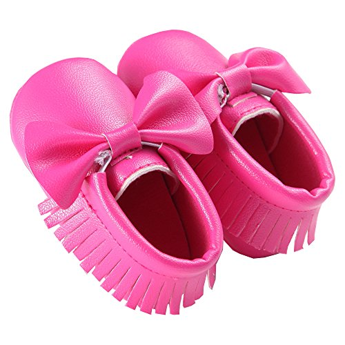waylongplus Prewalker infantil suave soled borla Bowknots Cuna zapatos PU Moccasins rojo rojo oscuro Talla:13 (12-18 Months) Purple Red