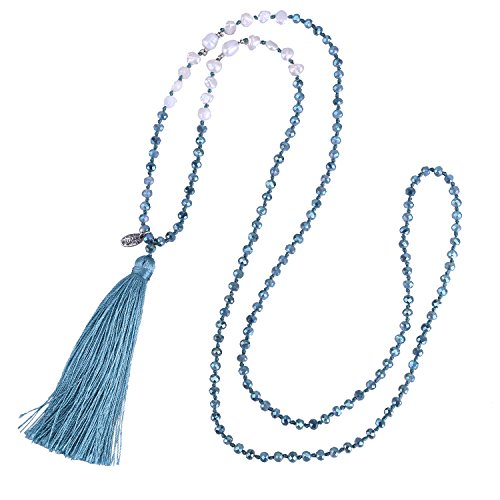 KELITCH Long Tassel Necklace Handmade Shell Pearl Crystal Beads Necklace for Women Fashion Jewelry(Lake Blue) ()