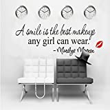 """interesting quotes wall decals Black 22"""" X 7"""" A smile is the best makeup-MARILYN MONROE WALL STICKER PAPER QUOTE DECAL ART Décor"""