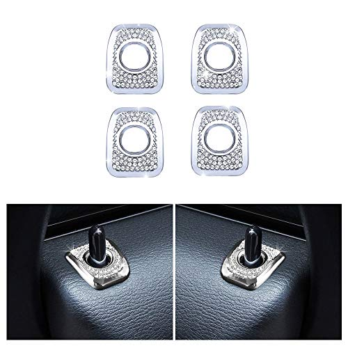 1797 Compatible Door Lock Pins Caps for BMW Accessories Parts Covers Decals Stickers Bling Interior Inside Decorations X3 X4 Series F25 G01 F26 G02 xDrive AWD Women Men Crystal Silver Pack of 4