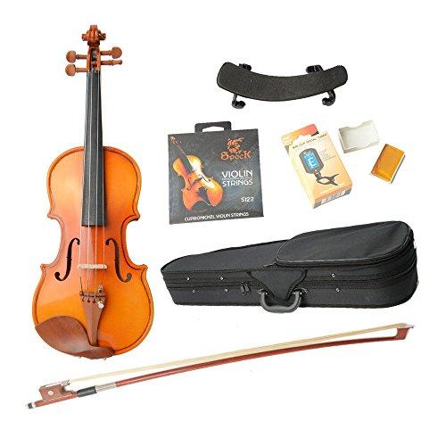 1/4 Brilliant Acoustic Spruce Wood Violin With Hard Case, Strings , Shoulder Rest , Electronic Tuner , Bow , Rosin Set Wood Color