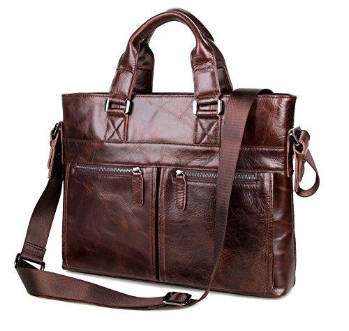 Everdoss Herren echt Leder Aktentasche Umhängetasche Schultertasche Handtasche Laptoptasche kaffee