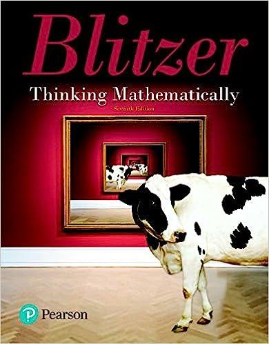 Thinking mathematically, 4th edition: robert blitzer.