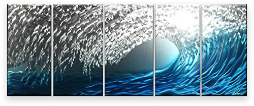 Silver Leaves Wall Art (Metal Wall Art Abstract Modern Contemporary Wall Decor Handmade Blue Silver Ice Waves)