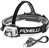 Foxelli USB Rechargeable Headlamp Flashlight – 280 Lumen