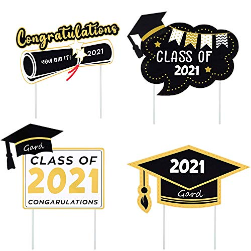 SPRAOI 4 Pieces Graduation Yard Sign 2021 Congrats Grad Lawn Sign With 8 Stakes, Garden Yard Sign Front Yard Decorations Outdoor For Graduation Party Lawn Decoration Party Supplies Decor (Multicolor2)