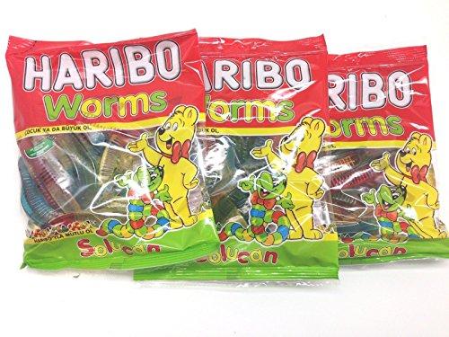 Haribo Gummi Candy, Worms, 160g x 3, Halal, 3 Packs, Solucan]()