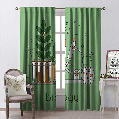 (Hengshu Lab Waterproof Window Curtain Biology Laboratory Workspace and Research Equipment Concept Illustration Decorative Curtains for Living Room W72 x L84 Pale Green Multicolor)