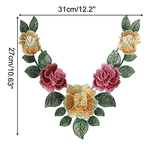 Colorfully Flower Embroidered Neckline Applique product image