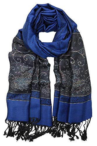 Achillea Women's Two Tone Vintage Jacquard Paisley Pashmina Shawl Wrap Scarf (Metallic Royal Blue)